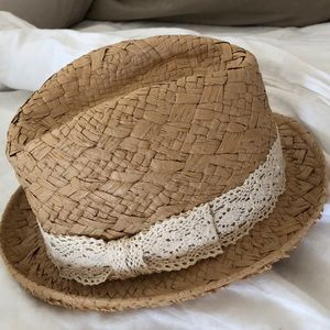 Fedora Hat with Ivory crochet lace